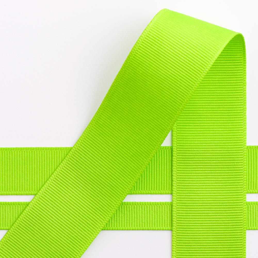 Lime Green Grosgrain Ribbon - 10mm, 16mm, 25mm, 38mm - Button Blue Crafts