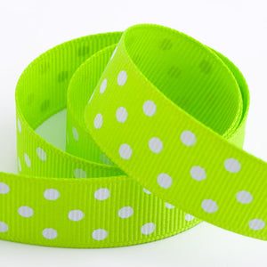 Lime Green - Polka Dot Grosgrain Ribbon - 15mm, 25mm - White Dots