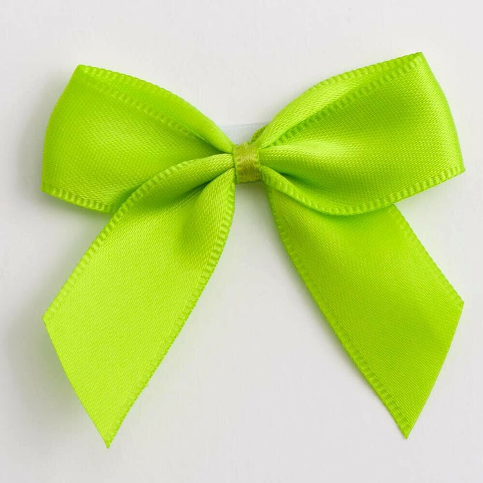 Lime Green - Satin Ribbon & Self Adhesive Bow Multipack - 5 x 1m Mixed Width + 5 x 5cm Bows