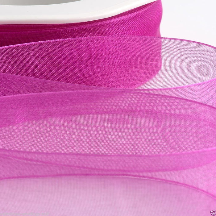Magenta - Woven Edge Organza - Sheer Ribbon - 4 Widths