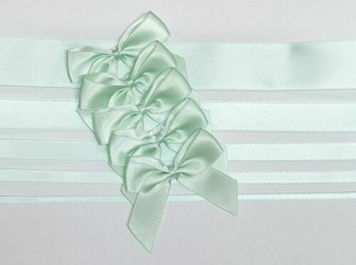 Mint Green - Satin Ribbon & Self Adhesive Bow Multipack - 5 x 1m Mixed Width + 5 x 5cm Bows