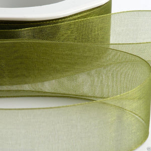 Moss Green - Woven Edge Organza - Sheer Ribbon - 4 Widths