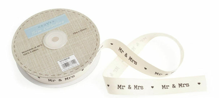 Wedding Ribbon - Mr & Mrs Typewriter Font 22mm Ivory Cut Length