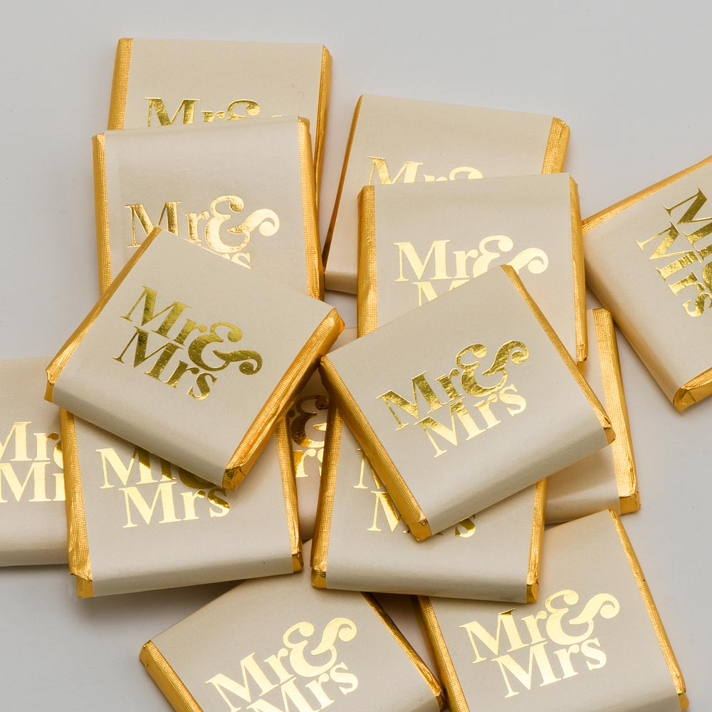 Mr & Mrs - Gold on Ivory Wrapper - Milk Chocolate Neapolitans - Wedding Favours - Button Blue Crafts