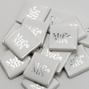 Mr & Mrs - Silver on White Wrapper - Milk Chocolate Neapolitans - Wedding Favours - Button Blue Crafts