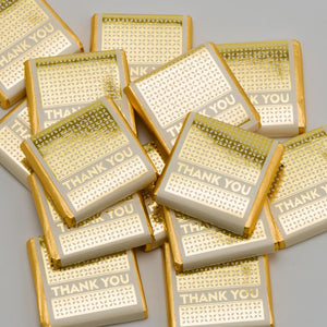 Gold Thank You on White Wrapper - Milk Chocolate Neapolitans - Wedding / Party Favours - Button Blue Crafts