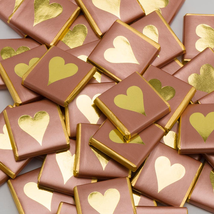 Gold Heart on Rose Gold Wrapper - Milk Chocolate Neapolitans - Wedding / Party Favours
