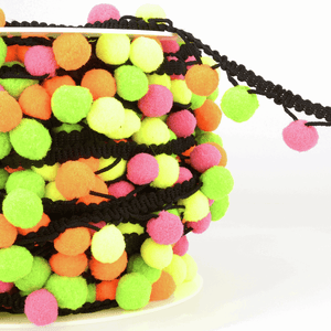 La Stephanoise Pom Pom Tassel Trim - Black Cord - Neon! - Top Quality Craft Fringing