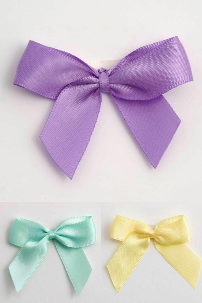 Neutral Baby Mix (Lilac)  - Self Adhesive Pre Tied Bows - 5cm x 16mm Satin Ribbon