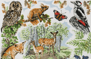 Anchor Counted Cross Stitch Kit - British Woodlands Sampler - Button Blue Crafts