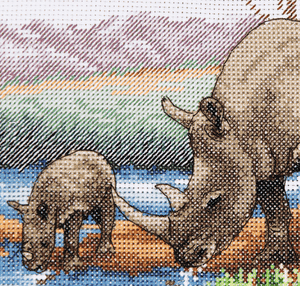 Anchor Counted Cross Stitch Kit - Rhino & Baby - African Wildlife - Button Blue Crafts