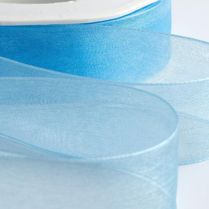 Pale Blue - Woven Edge Organza - Sheer Ribbon - 4 Widths