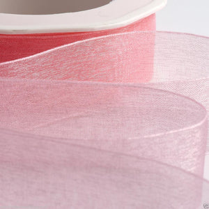 Pale Pink - Woven Edge Organza - Sheer Ribbon - 4 Widths