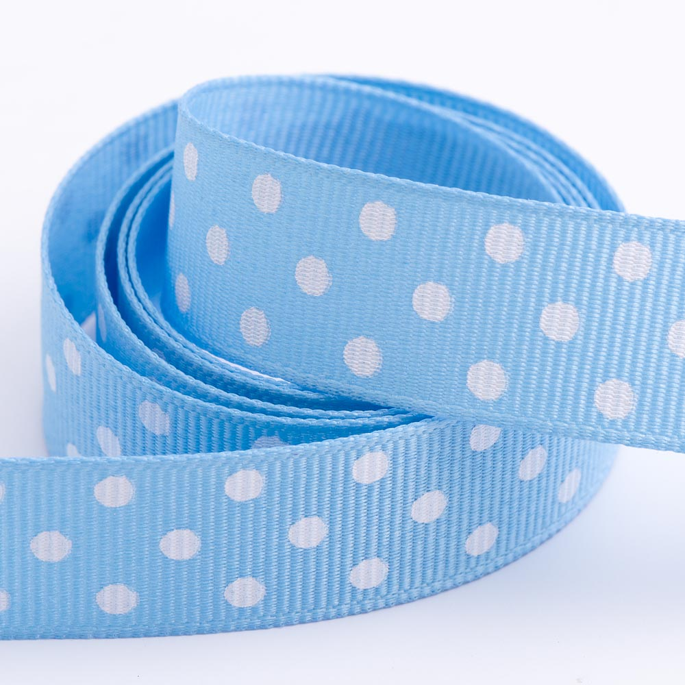Pale Blue - Polka Dot Grosgrain Ribbon - 15mm, 25mm - White Dots