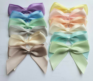 Pastels Mix - Self Adhesive Pre Tied Bows - 5cm x 16mm Satin Ribbon