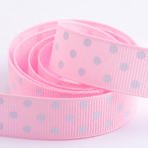 Pale Pink - Polka Dot Grosgrain Ribbon - 15mm, 25mm - White Dots - Button Blue Crafts