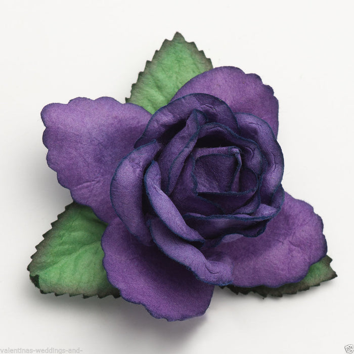 Large 50mm Purple Roses - Mulberry Paper Flowers - Wedding Headband Decoration Craft