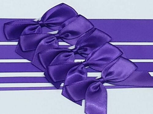 Purple - Satin Ribbon & Self Adhesive Bow Multipack - 5 x 1m Mixed Width + 5 x 5cm Bows