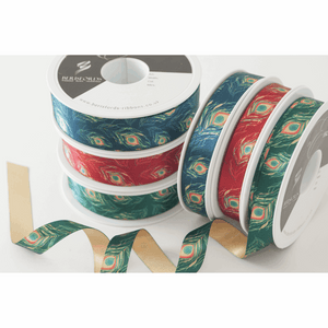Blue Peacock Feather Satin Ribbon - 15mm - 1 Metre Cut length - Gift Wrapping, Decoration, Costume Making