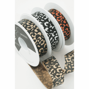 Silver and Black Leopard Spots Satin Ribbon - 25mm - 1 Metre Cut length - Gift Wrapping, Decoration, Costume Making