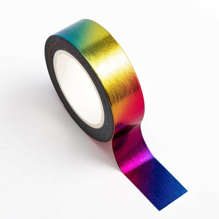 Rainbow - Foil Washi Tape 15mm x 10m Repositionable Adhesive Roll