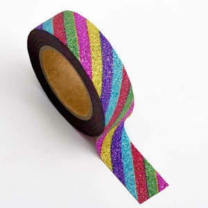 Rainbow - Glitter Washi Tape 15mm x 10m Repositionable Adhesive Roll