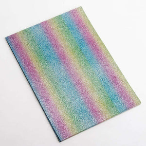 Pastel Rainbow A4 Low Shed Glitter Cardstock Premium Quality - 250gsm