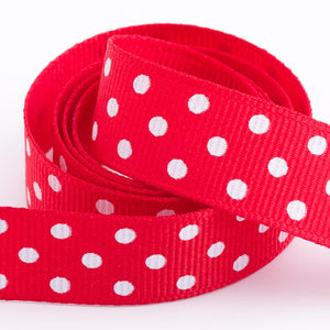 Red - Polka Dot Grosgrain Ribbon - 15mm, 25mm - White Dots