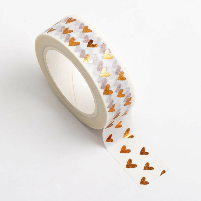 Rose Gold Hearts - Foil Washi Tape 15mm x 10m Repositionable Adhesive Roll