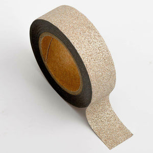 Rose Gold - Glitter Washi Tape 15mm x 10m Repositionable Adhesive Roll