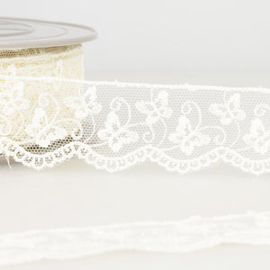 La Stephanoise Ivory Butterfly Embroidered Tulle Lace Ribbon - 2 Widths - Button Blue Crafts
