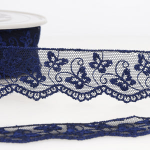La Stephanoise Navy Blue Butterfly Embroidered Tulle Lace Ribbon - 2 Widths