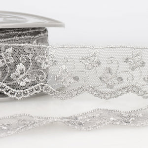 La Stephanoise Light Grey Butterfly Embroidered Tulle Lace Ribbon - 2 Widths - Button Blue Crafts