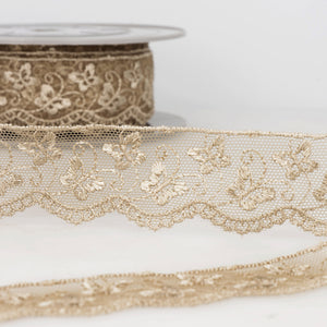 La Stephanoise Beige Butterfly Embroidered Tulle Lace Ribbon - 2 Widths