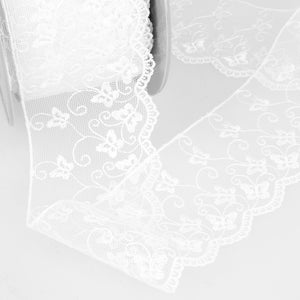 La Stephanoise White Butterfly Embroidered Tulle Lace Ribbon - 2 Widths