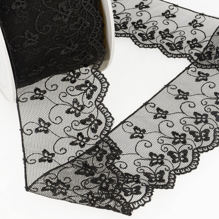 La Stephanoise Black Butterfly Embroidered Tulle Lace Ribbon - 2 Widths