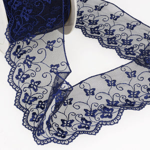 La Stephanoise Navy Blue Butterfly Embroidered Tulle Lace Ribbon - 2 Widths - Button Blue Crafts
