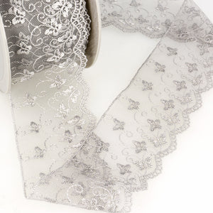 La Stephanoise Light Grey Butterfly Embroidered Tulle Lace Ribbon - 2 Widths