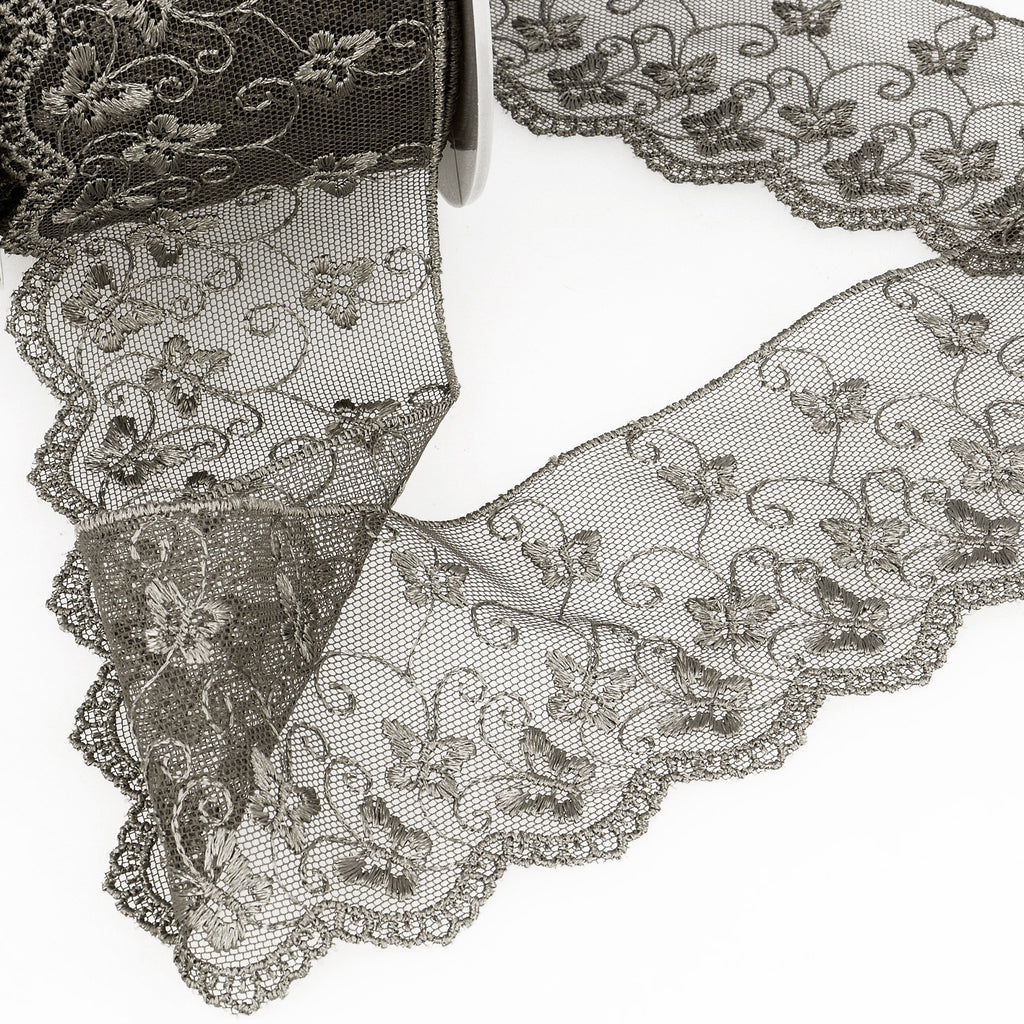 La Stephanoise Dark Grey Butterfly Embroidered Tulle Lace Ribbon - 2 Widths - Button Blue Crafts