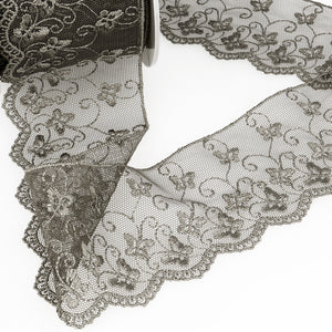 La Stephanoise Dark Grey Butterfly Embroidered Tulle Lace Ribbon - 2 Widths