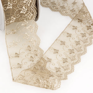 La Stephanoise Beige Butterfly Embroidered Tulle Lace Ribbon - 2 Widths - Button Blue Crafts