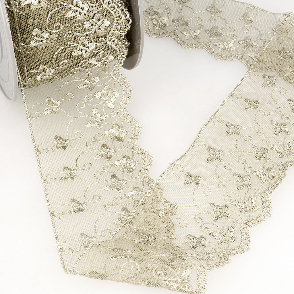 La Stephanoise Taupe Butterfly Embroidered Tulle Lace Ribbon - 2 Widths - Button Blue Crafts