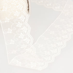 La Stephanoise Ivory Butterfly Embroidered Tulle Lace Ribbon - 2 Widths