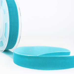 La Stephanoise Turquoise Velvet Ribbon - 5 Widths - Colour 020 - Button Blue Crafts