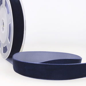 La Stephanoise Navy Blue Velvet Ribbon - 5 Widths - Colour 023 - Button Blue Crafts