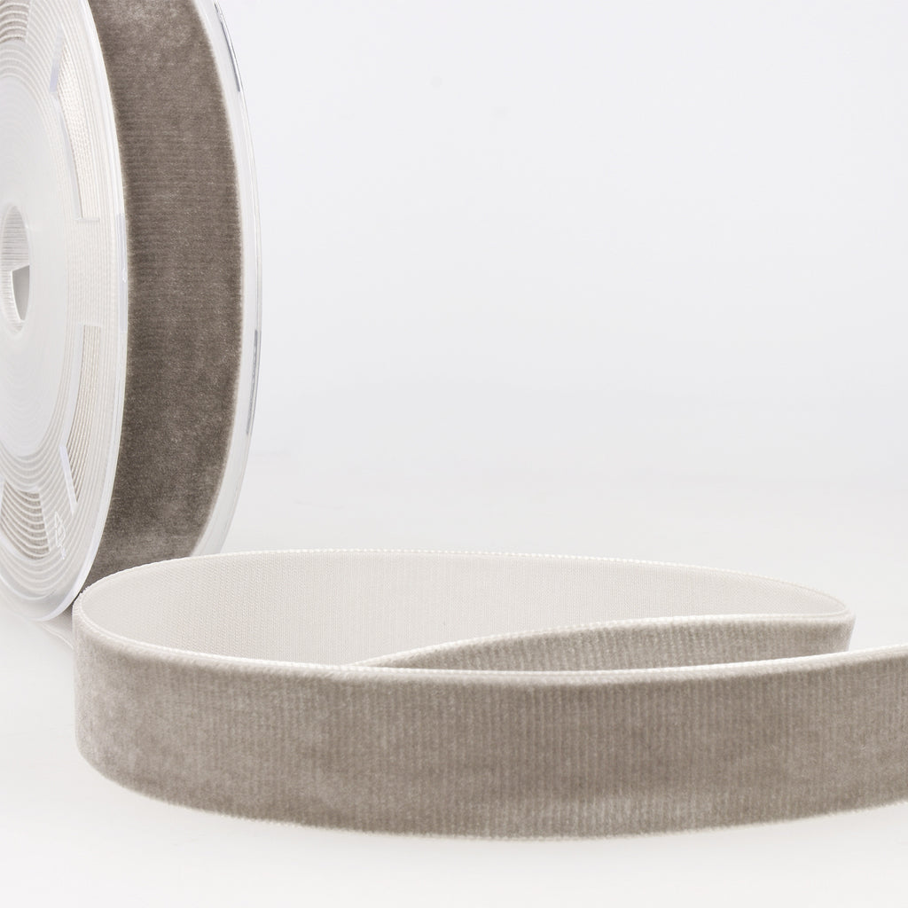 La Stephanoise Light Grey Velvet Ribbon - 5 Widths - Colour 031