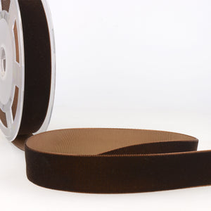 La Stephanoise Dark Brown Velvet Ribbon - 5 Widths - Colour 056