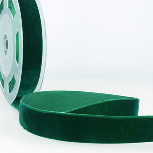 La Stephanoise Bottle Green Velvet Ribbon - 5 Widths - Colour 067 - Button Blue Crafts