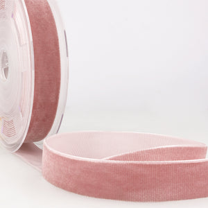 La Stephanoise Antique Pink Velvet Ribbon - 5 Widths - Colour 077 - Button Blue Crafts