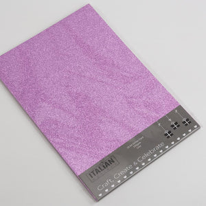 Lilac A4 Low Shed Glitter Cardstock Premium Quality - 250gsm - Button Blue Crafts